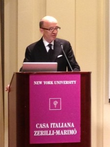 Claudio Ricci, mayor of Assisi, speaks at the opening event for Frate Francesco  Courtesy: La Voce di New York
