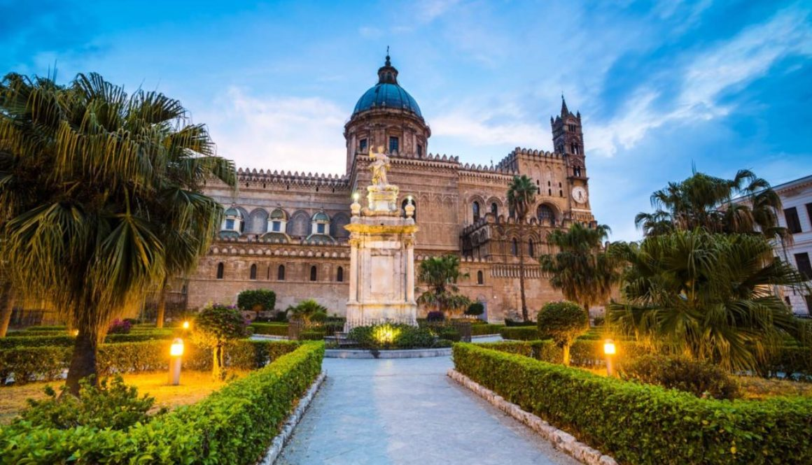 Palermo at night, Palermo Cathedral (Duomo di Palermo), Sicily, Italy, destination travel photography by travel and destination photographer Matthew Williams-Ellis